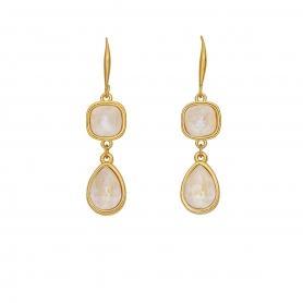 Χειροποίητα επίχρυσα μακριά σκουλαρίκια με κρύσταλλα Swarovski σε white opal απόχρωση 01-57-115