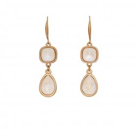 Χειροποίητα μακριά σκουλαρίκια με ςπιχρύσωση σε ροζ χρυσό και κρύσταλλα Swarovski σε white opal απόχρωση 02-57-115
