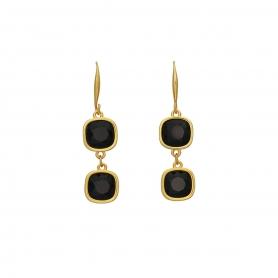 Χειροποίητα κρεμαστά επίχρυσα σκουλαρίκια με κρύσταλλα Swarovski σε μαύρο χρώμα 06-115