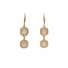 Χειροποίητα κρεμαστά επίχρυσα σκουλαρίκια με κρύσταλλα Swarovski σε λευκό χρώμα 01-57-115