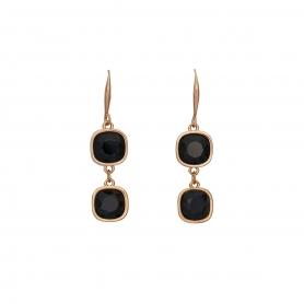 Χειροποίητα κρεμαστά σκουλαρίκια με ρόζ επιχρύσωμα και και κρύσταλλα Swarovski σε μαύρο χρώμα 02-06-115