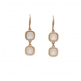 Χειροποίητα κρεμαστά σκουλαρίκια με ροζ επιχρύσωμα και κρύσταλλα Swarovski σε λευκό χρώμα 02-57-115