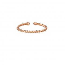 Δαχτυλίδι στριφτό βεράκι από ασήμι με ροζ επιχρύσωμα
