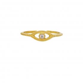 Δαχτυλίδι ματάκι με λευκό ζιργκόν στο κέντρο από επιχρυσωμένο ασήμι G-5