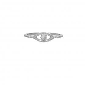 Δαχτυλίδι ματάκι με λευκό ζιργκόν από επιπλατινωμένο ασήμι S-5