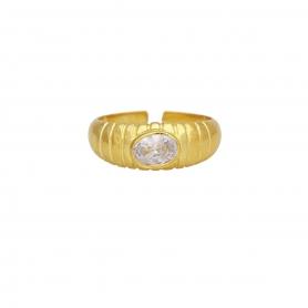 Δαχτυλίδι με λευκό ζιργκόν από επιχρυσωμένο ασήμι