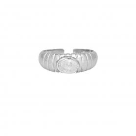 Δαχτυλίδι με λευκό ζιργκόν από επιπλατινωμένο ασήμι