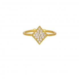 Δαχτυλίδι με λευκά ζιργκόν από επιχρυσωμένο ασήμι G-5