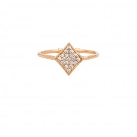 Δαχτυλίδι με λευκά ζιργκόν από ασήμι με ροζ επιχρύσωμα RG-5