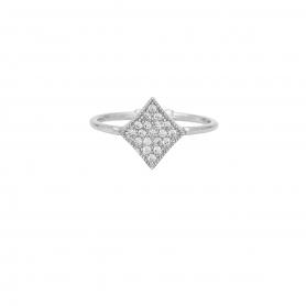 Δαχτυλίδι με λευκά ζιργκόν από επιπλατινωμένο ασήμι S-5