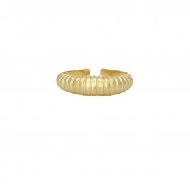 Δαχτυλίδι σε οβαλ σχήμα με ραβδώσεις απο επιχρυσωμένο ασημί