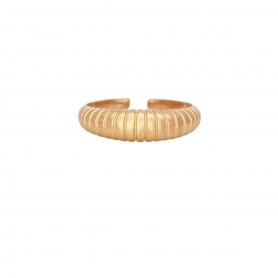 Δαχτυλίδι σε οβαλ σχήμα με ραβδώσεις απο ασημί με ροζ επιχρύσωμα