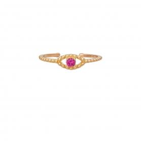 Δαχτυλίδι ματάκι με κόκκινο ζιργκόν από ασήμι με ροζ επιχρύσωμα G-49
