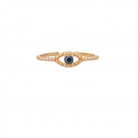 Δαχτυλίδι ματάκι με μπλε ζιργκόν από ασημί σε ροζ επισχρύσωμα RG-49