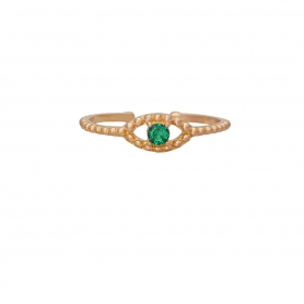 Δαχτυλίδι ματάκι με πράσινο ζιργκόν από ασημί σε ροζ επισχρύσωμα RG-49