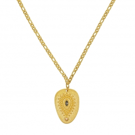 Χειροποίητο κοντό κολιέ με ατσάλινη αλυσίδα και ανάγλυφο μοτίφ με κρυσταλλάκια Swarovski 05-59