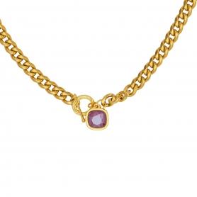 Kοντό κολιέ με ατσάλινη αλυσίδα σε χρυσό χρώμα και κρεμαστό στοιχείο με κρύσταλλο Swarovski 01-105