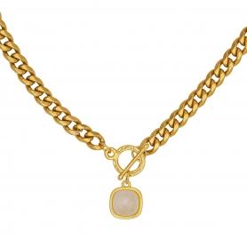 Κοντό κολιέ με ατσάλινη αλυσίδα σε χρυσό χρώμα και κρεμαστό στοιχείο με κρύσταλλο Swarovski 57-105