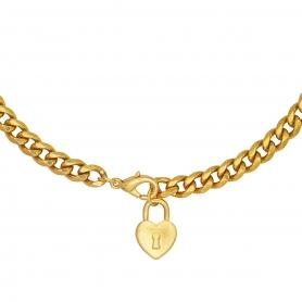 Κοντό κολιέ με ατσάλινη αλυσίδα σε χρυσό χρώμα και κρεμαστό στοιχείο λουκέτο καρδιά