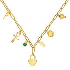 Κοντό κολιέ με ατσάλινη αλυσίδα σε χρυσό χρώμα και κρεμαστά στοιχεία 18-89