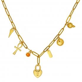 Κοντό κολιέ με ατσάλινη αλυσίδα σε χρυσό χρώμα και κρεμαστά στοιχεία 22-89
