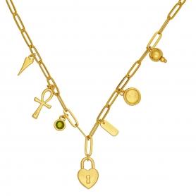 Κοντό κολιέ με ατσάλινη αλυσίδα σε χρυσό χρώμα και κρεμαστά στοιχεία 27-89