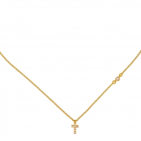 Μικρός σταυρός με λευκά ζιργκόν από επιχρυσωμένο ασήμι G-65