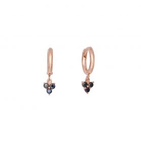 Σκουλαρίκια κρικάκια από ασήμι με ροζ επιχρύσωμα και κρεμαστά στοιχεία με μαύρα ζιργκόν
