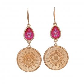 Κρεμαστά σκουλαρίκια με στοιχεία σε ροζ χρυσό, και κρύσταλλα Swarovski 01-105