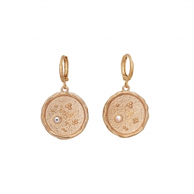 Κρικάκια σε ροζ χρυσό με κρεμαστά στοιχεία, και κρύσταλλα Swarovski 17-59