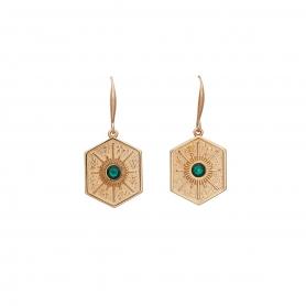 Κρεμαστά σκουλαρίκια με στοιχεία σε ροζ χρυσό, και κρύσταλλα Swarovski 18-59
