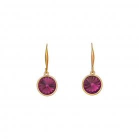 Σκουλαρίκια σε ροζ χρυσό με κρεμαστά στοιχεία και κρύσταλλα Swarovski 24-5