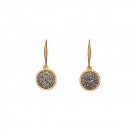 Σκουλαρίκια σε ροζ χρυσό με κρεμαστά στοιχεία και πέτρες με ανάγλυφες λεπτομέρειες 38-5