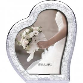 Ασημένια Στεφανοθήκη Κορνίζα σε σχήμα καρδιάς με λευκό ξύλο
