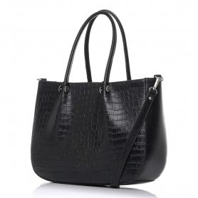 Γυναικεία τσάντα χειρός κροκό Pierro Accessories 90601KR01 Μαύρο