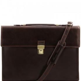 Επαγγελματική Τσάντα Δερμάτινη Como - Καφέ σκούρο