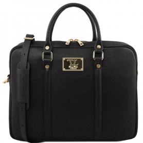 Τσάντα Laptop Δερμάτινη Prato 15.6'' - Μαύρο
