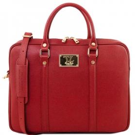 Τσάντα Laptop Δερμάτινη Prato 15.6'' - Κόκκινο