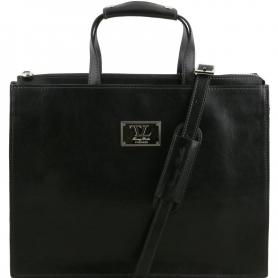 Γυναικεία Επαγγελματική Τσάντα Δερμάτινη Palermo 9'' - Μαύρο