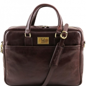 Τσάντα Laptop Δερμάτινη Urbino 15.6'' - Καφέ σκούρο