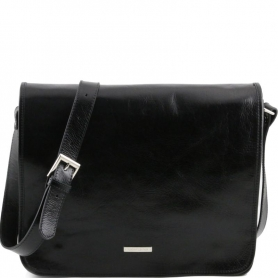 Ανδρική Τσάντα Δερμάτινη Messenger TL141254 10'' - Μαύρο