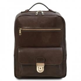 Τσάντα Πλάτης Δερμάτινη Kyoto 15'' - Καφέ σκούρο