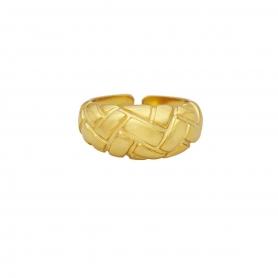 Δαχτυλίδι πομπέ με ανάγλυφο σχέδιο από επιχρυσωμένο ασήμι 925. D-13-G-159