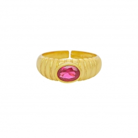 Δαχτυλίδι πομπέ με κόκκινο  ζιργκόν απο επιχρυσωμένο ασήμι 925.  D-2-KOKI-G-8