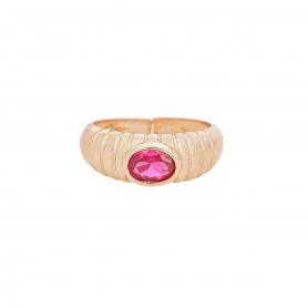 Δαχτυλίδι πομπέ  με κόκκινο  ζιργκόν  απο  ασήμι 925 με ροζ επιχρύσωμα. D-2-KOKI-RG-8