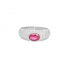 Δαχτυλίδι πομπέ με κόκκινο  ζιργκόν απο επιπλατινωμένο ασήμι 925. D-2-KOKI-S-8