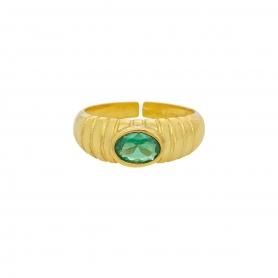 Δαχτυλίδι πομπέ με  πράσινο ζιργκόν  απο επιχρυσωμένο ασήμι 925. D-2-PRASI-G-8