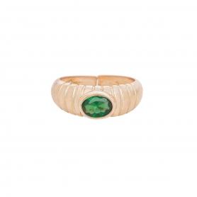Δαχτυλίδι πομπέ με  πράσινο ζιργκόν  απο  ασήμι 925 με ροζ επιχρύσωμα. D-2-PRASI-RG-8