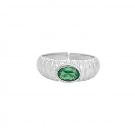 Δαχτυλίδι πομπέ από επιπλατινωμένο ασήμι 925 με πράσινο ζιργκόν.  D-2-PRAS-S-8