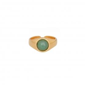 Δαχτυλίδι επίχρυσο  με πράσινη πέτρα. D-346-01-18-45